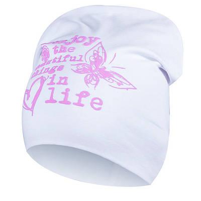 """Трикотажная удлиненная шапочка для девочки """"Алсу"""" белого цвета."""