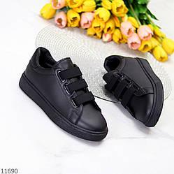 Черные модные повседневные молодежные женские кеды на липучках под джинсы