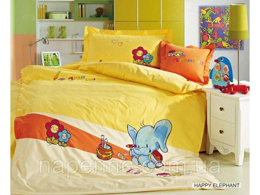 """Постельное бельё для детей ARYA сатин с вышивкой """"HAPPY ELEPHANT"""""""