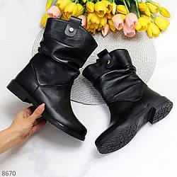 Удобные черные кожаные женские сапоги низкий ход натуральная кожа