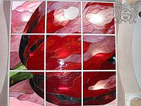 Вітражі в стелю тюльпан з шматочків кольорового скла