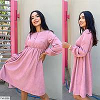 Крутое повседневное нежное расклешенное вельветовое платье с завышенной талией Размер: 42-44, 46-48 арт. 119
