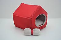 Будиночок для котів собак VIP червоний плюш, фото 1