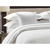Семейный комплект постельного белья в полоску белоснежное Страйп-сатин
