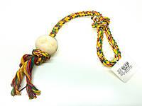 Мяч на веревке для собак, хлопок / дерево (6 см / 60 см)