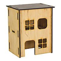 Деревянный двухэтажный домик для мелких грызунов