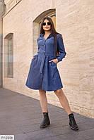Повседневное стильное теплое вельветовое расклешенное платье с карманами р: 42-44, 46-48 арт. 1805