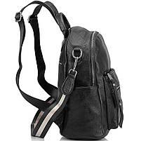 Рюкзак міський жіночий чорний. Жіночий шкіряний рюкзак (23515), фото 5