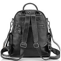 Рюкзак міський жіночий чорний. Жіночий шкіряний рюкзак (23515), фото 4