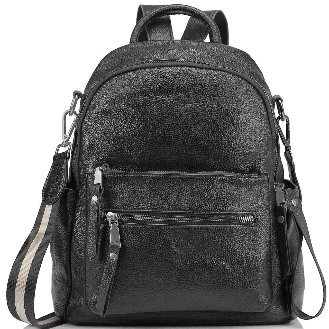 Рюкзак міський жіночий чорний. Жіночий шкіряний рюкзак (23515)
