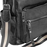 Рюкзак міський жіночий чорний. Жіночий шкіряний рюкзак (23515), фото 6