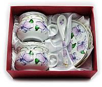 """Сервиз из тонкого фарфор (2GBC-A1093SP) Yamasen 2 чашки + 2 блюдца + 2 ложки """"Цветы на белом фоне"""""""