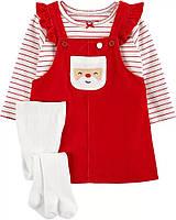 Яскравий новорічний костюмчик із трьох речей для дівчинки Картерс, фото 1