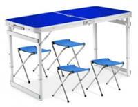 Стол складной алюминиевый для пикника Чемодан Стол для пикника усиленный со стульями Синий