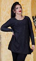 Красивая женская туника с украшением турецкий трикотаж батал Турция