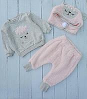 """Костюм двійка дитячий теплий з шапкою на дівчинку 6-24 міс (3ол) """"MARI"""" купити оптом в Одесі на 7км"""