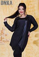 Модная асимметричная женская туника с украшением турецкий трикотаж батал Турция