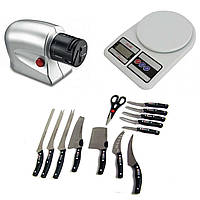 Набор ножей Miracle Blade 13 in 1 в подарок Электрическая точилка и Кухонные весы SF-400 SKL11-260655