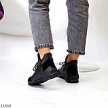 Стильні миксовые високі чорні жіночі кросівки на шнурівці, фото 3
