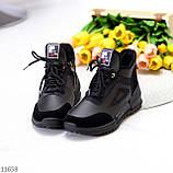 Стильні миксовые високі чорні жіночі кросівки на шнурівці, фото 5