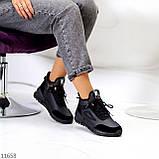 Стильні миксовые високі чорні жіночі кросівки на шнурівці, фото 6