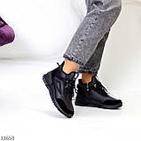 Стильні миксовые високі чорні жіночі кросівки на шнурівці, фото 7