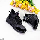 Стильні миксовые високі чорні жіночі кросівки на шнурівці, фото 8