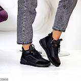 Стильні миксовые високі чорні жіночі кросівки на шнурівці, фото 9