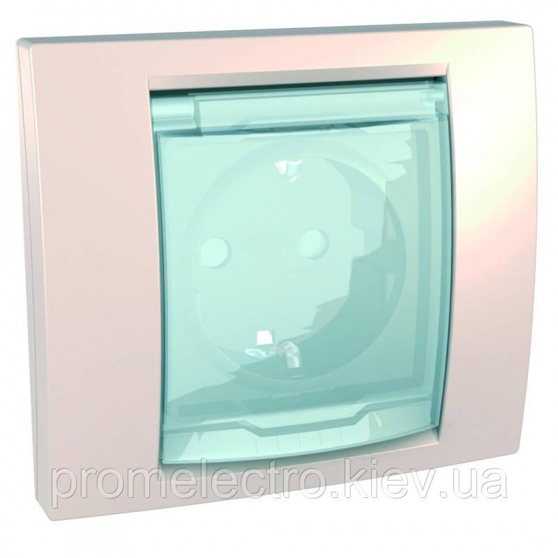 Розетка з з/к з шторками і прозорою кришкою з рамкою IP44 (гвинт.затискач) 16А, Слонова кістка, Unica MGU61.037
