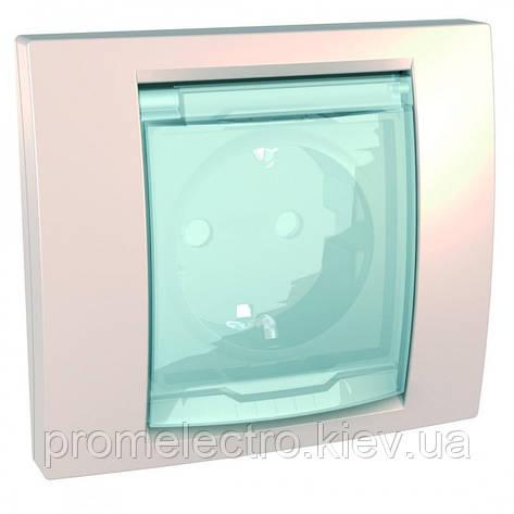 Розетка з з/к з шторками і прозорою кришкою з рамкою IP44 (гвинт.затискач) 16А, Слонова кістка, Unica MGU61.037, фото 2
