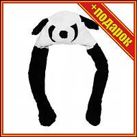 [PR1599] Шапка меховая светящая панда с лапками подимающие ушки /200/,Костюмы на хэллоуин для детей,Стильный
