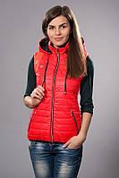 Жилетка женская молодежная утепленная. Код модели ЖЛ-04-12-14. Цвет красный.