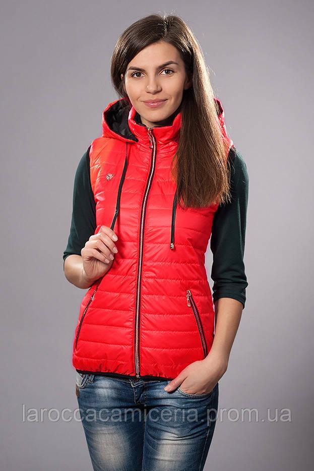 2dc5386e9ea8c Жилетка женская молодежная утепленная. Код модели ЖЛ-04-12-14. Цвет красный.