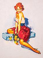 """Набор для вышивания бисером (на подрамнике) """"Девушка с розами"""""""