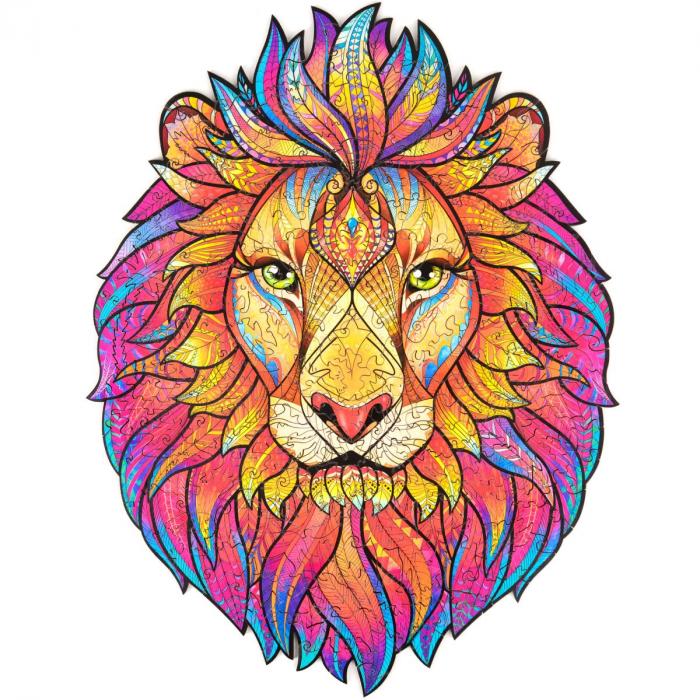 Деревянный пазл Таинственный Лев. Фигурный пазл Таинственный Лев (опт и розница).