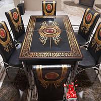 Обеденная группа комплект кухонной мебели стол и 6 стульев Baron, каленное стекло с декором для кухни