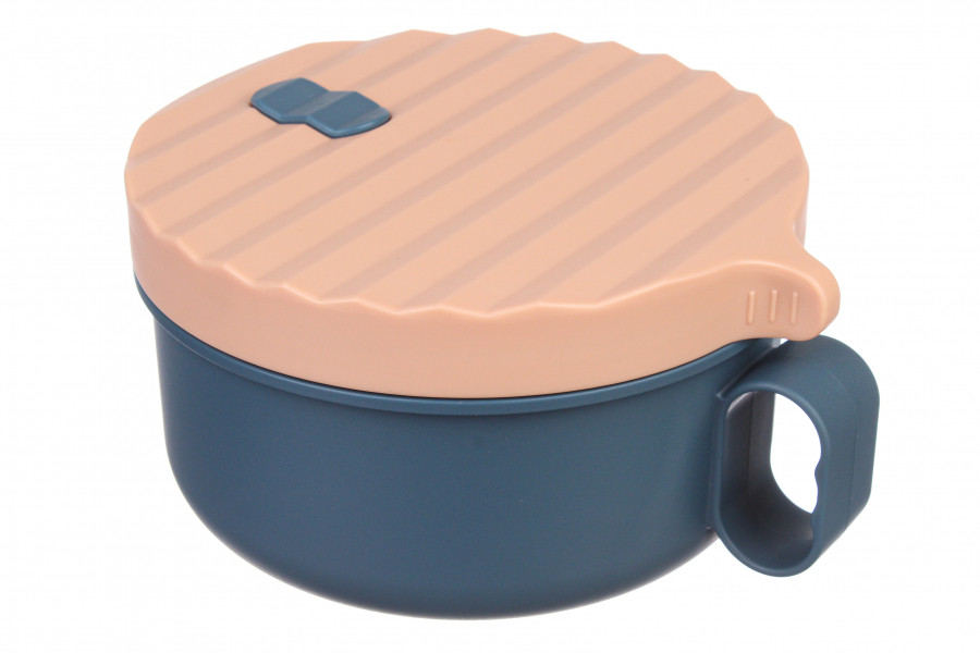 Великий круглий ланч бокс супниця у формі чашки,синій пластиковий ланч бокс для їжі з металевими паличками