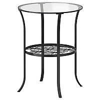 KLINGSBO Журнальный столик, черный, стекло бесцветное 201.285.64