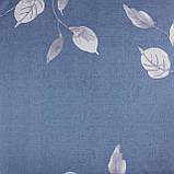 Комплект постельного белья сатин синий Листья Koloco Двуспальний 180х220см, фото 3