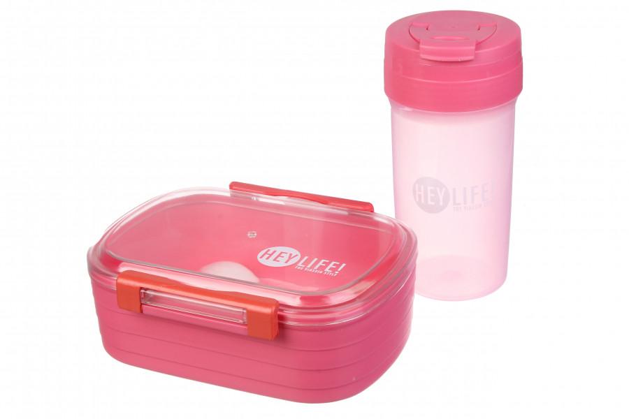 Набор розовый ланч бокс с бутылкой детский,пищевой ланч бокс с приборами,розовый контейнер для еды с бутылкой