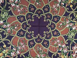 Цыганка Аза 362-19а, павлопосадский платок (шаль) из уплотненной шерсти с шелковой вязаной бахромой