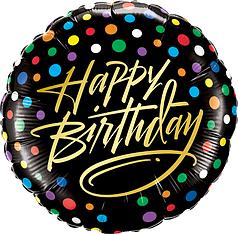 """Коло 18"""" КИТАЙ-КТ Happy Birthday - різнокольоровий горошок на чорному"""