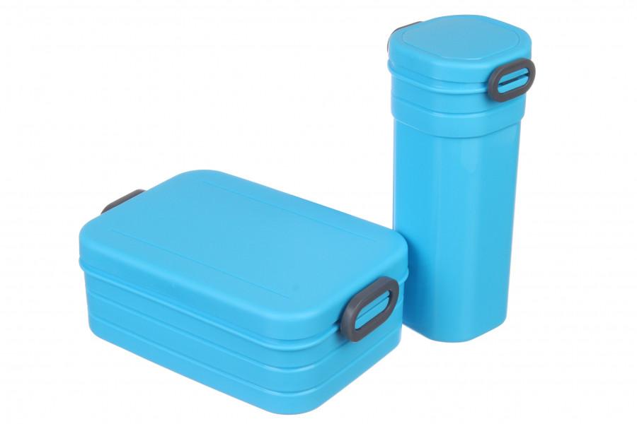 Пластиковый ланч бокс с бутылкой набор, голубой ланч бокс для еды, пищевой судочек из экопластика