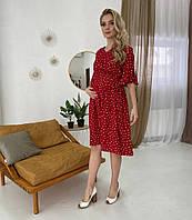 Женское платье для беременных и кормящих мам WOW MOM Красное с сердечками S-M (1_1028)