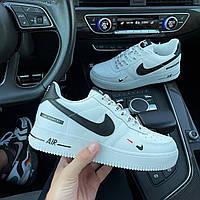 Мужские кроссовки Nike Air Force 1 White/Black мужские Форсы белые низкие кожаные Найк Аир Форс на лето