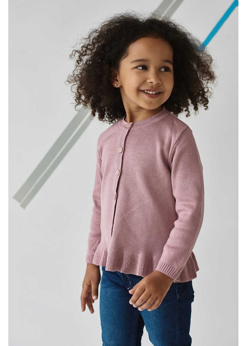 Кофта для девочки вязаная на пуговицах пудра