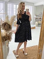 Женское платье для беременных и кормящих мам WOW MOM Черное с сердечками S-M (1_1028)