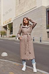 Демісезонний брендовий жіночий довгий плащ стеганний