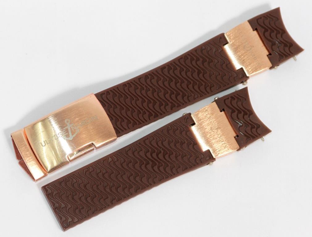 Ремешок Силиконовый для часов Ulysse Nardin с металлом (красное золото) коричневого цвета