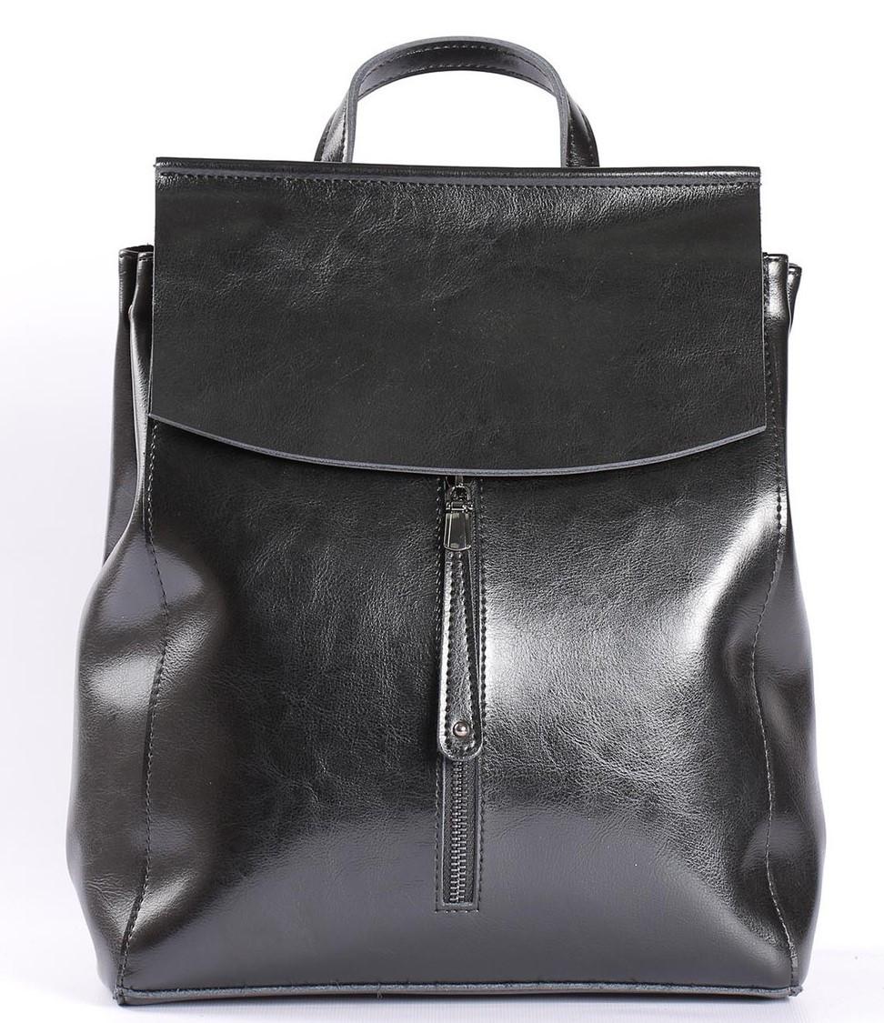 Стильный женский рюкзак из натуральной кожи Черный Tiding Bag - 25437